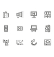 Simple line icons set for v-blog vector image