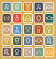 Award line flat icons on brown background vector image