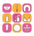 Breastfeeding and motherhood Flat icons of baby vector image