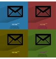 Color set mail envelope Flat modern web button vector image