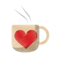 drawing cup coffee love heart hot vector image