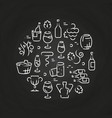 drinks line icons - wine logo on chalkboard vector image