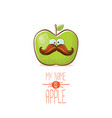 funny cartoon cute green apple character vector image