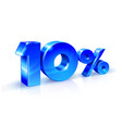 glossy blue 10 ten percent off sale isolated on vector image