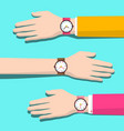 Human hands with watches flat design vector image
