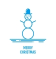 Merry Christmas concept with snowman in hat in vector image