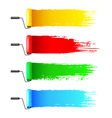 Colorful paint rollers and grunge stripes vector image