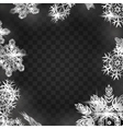 Winter frame with snowflakes on black background vector image