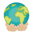 hands human with world planet earth icon vector image