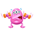 A fat pink monster exercising vector image vector image