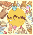 ice cream hand drawn menu design vector image