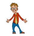 guy in a tie and glasses standing smiling vector image