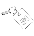 key of hotel room vector image vector image