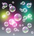 Transparent multicolored soap bubbles set on plaid vector image