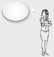 a thinking woman vector image