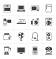 Black household appliances and electronics icons vector image