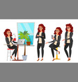 business woman character set working vector image