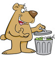 Cartoon bear looking in a garbage can vector image