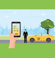 hands with smart phone and taxi application vector image