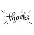 handwritten word thanks vector image
