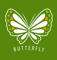 logo delicate butterfly on a green background vector image