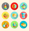 newborn infant themed cute flat icon set baby vector image