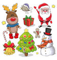 set of cute christmas design elements vector image
