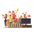 Sport fans watching tv composition vector image