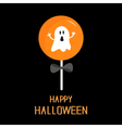Sweet candy lollipop with ghost Black bow Happy vector image