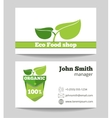 Organic eco food shop business card vector image vector image
