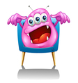 A television with a pink monster vector image vector image