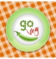 Green plate with vegetable inscription vector image