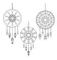Set of three hand drawn dreamcatchers vector image