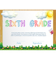 Certification for six grade vector image vector image