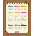 calendar 2012 for your design vector image vector image