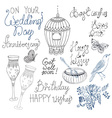 Doodle collection with text and elements for vector image