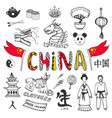 hand-drawn china icon collection set with asian vector image