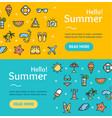 hello summer banner horizontal set vector image