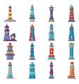 lighthouse icons set cartoon style vector image