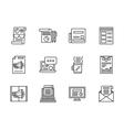 Newsletter black line icons set vector image