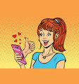 young woman reading smartphone online like love vector image