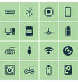 set of 16 computer hardware icons includes aux vector image