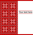 card with ethnic ornament design in whitered and vector image