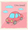 Color vintage card with car and clouds vector image