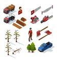 Lumberjack Isometric Icons Set vector image