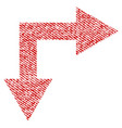 bifurcation arrow right down fabric textured icon vector image