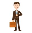 Businessman with his briefcase icon cartoon style vector image