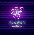 flower boutique neon emblem vector image