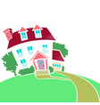 house on a top of a hill in spring or summer vector image