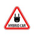 hybrid car caution sticker save energy automobile vector image
